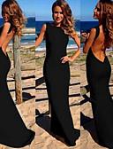 זול שמלות נשים-סירה רחב מקסי גב חשוף, אחיד - שמלה כותנה מידות גדולות בגדי ריקוד נשים