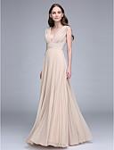 Χαμηλού Κόστους Φορέματα Παρανύμφων-Ίσια Γραμμή Λαιμόκοψη V Μακρύ Σιφόν Φόρεμα Παρανύμφων με Που καλύπτει Πιασίματα με LAN TING BRIDE®