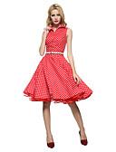 halpa Vintage-kuningatar-Naisten Vintage Puuvilla Swing Mekko - Polka Dot, Laskostettu Paitapuserokaula-aukko Polvipituinen