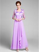 Χαμηλού Κόστους Φορέματα για τη Μητέρα της Νύφης-Ίσια Γραμμή Scoop Neck Μέχρι τον αστράγαλο Σιφόν Φόρεμα Μητέρας της Νύφης με Κρυστάλλινη λεπτομέρεια / Πιασίματα με LAN TING BRIDE®