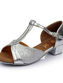 baratos Vestidos de Mulher-Mulheres Sapatos de Dança Latina Glitter / Cetim Sandália Presilha Salto Personalizado Personalizável Sapatos de Dança Vermelho / Azul /