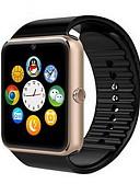 זול להקות Smartwatch-בגדי ריקוד גברים חכמים שעונים דיגיטלי גומי שחור מסך מגע Alarm לוח שנה דיגיטלי פאר - זהב שחור כסף / שלט רחוק / מד צעדים / מכשירי מדידה לספורט / שעון עצר
