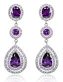 cheap Prom Dresses-Women's Cubic Zirconia Earrings - Sterling Silver, Zircon, Cubic Zirconia Drop Luxury, Fashion, Bridal White / Purple / Blue For Wedding Daily Casual