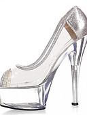 abordables Ropa de Cama de Mujer-Mujer Zapatos Purpurina / PVC Primavera / Verano Zapatos con luz / Zapatos del club Tacones Tacón Stiletto / Talón translúcido / Tacón de