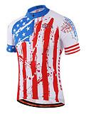 tanie Stroje rowerowe-Miloto Męskie Damskie Unisex Krótki rękaw Koszulka rowerowa - Czerwony i biały Pasek Puszysta Rower Koszula Bluza dresowa Dżersej Oddychający Szybkie wysychanie Odblaskowe paski Sport Coolmax® 100