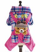 abordables Camisas y Camisetas para Mujer-Perro Mono Ropa para Perro Ajedrez Británico Animal Azul Rosa Lana Polar Algodón Disfraz Para mascotas Hombre Mujer Moda