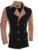 cheap Men's Jackets & Coats-Men's Solid Casual / Work Coat,Cotton Long Sleeve-Black / Brown / Gray