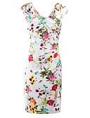 cheap Work Dresses-Women's Party / Club Street chic Slim Bodycon Dress - Floral Split V Neck