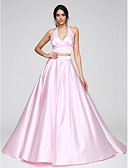 cheap Prom Dresses-Ball Gown Halter Neck Sweep / Brush Train Satin Two Piece Formal Evening Dress with Pleats by TS Couture®