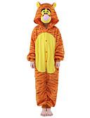 billige Bodysuit-Børne Kigurumi-pyjamas Tiger Onesie-pyjamas Kostume Fløjl Mink Orange Cosplay Til Nattøj Med Dyr Tegneserie Halloween Festival / Højtider / Jul