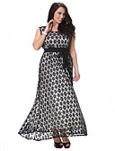 cheap Women's Dresses-Women's Plus Size Vintage Lace Dress - Polka Dot Lace / Cut Out / Ruffle Maxi