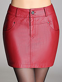 abordables Mini-jupe-Femme Grandes Tailles Moulante Jupes - Couleur Pleine