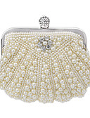 cheap Party Headpieces-Women's Bags Polyester Evening Bag / Bi-fold Pearl / Crystal / Rhinestone Solid Colored White / Beige / Cream