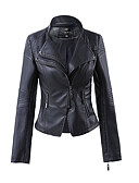 cheap Women's Blazers & Jackets-Women's Leather Jacket-Solid Colored V Neck
