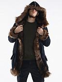 お買い得  メンズダウン&パーカー-男性用 冬 プラスサイズ ロング コート 長袖 フェイクファー パッチワーク ブラック XL / XXL / XXXL