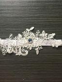 baratos Véus de Noiva-Renda / Cetim Elástico Clássico / Fashion Wedding Garter Com Pedrarias / Flor Ligas