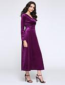 abordables Pantalones para Mujer-Mujer Tallas Grandes Corte Ancho / Vaina Vestido - Frunce, Un Color Tiro Alto Maxi Escote en Pico / Otoño