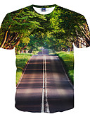 baratos Camisetas & Regatas Masculinas-Homens Camiseta Activo Estampado, 3D Decote Redondo Delgado / Manga Curta