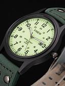 hesapli Asker Saat-Erkek Spor Saat Moda Saat Asker Saat Quartz Deri Yeşil Su Resisdansı Takvim Gece Parlayan Analog Vintage Günlük - Yeşil