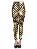 voordelige Damesleggings-Dames Club Metallic Legging - Blokken, Print Medium Taille / Lente / Zomer / Herfst / Skinny