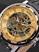 baratos Relógios Mecânicos-WINNER Homens Relógio Esqueleto / Relógio de Pulso / relógio mecânico Gravação Oca / Legal PU Banda Preta / Mecânico - de dar corda manualmente