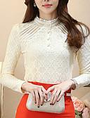 hesapli Kadın Üst Giyim-Kadın's Polyester Dik Yaka Dantel, Solid Çalışma Büyük Bedenler Bluz