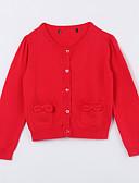 voordelige Meisjeskleding-Dagelijks Effen Katoen Herfst Trui & Vest Rood