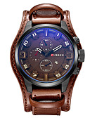 cheap Quartz Watches-CURREN Men's Sport Watch Military Watch Wrist Watch Quartz 30 m Calendar / date / day Cool Leather Band Analog Luxury Vintage Casual Black / Brown - Brown Red White / Brown Two Years Battery Life