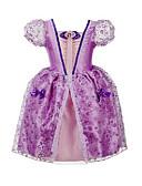 お買い得  女児 ドレス-子供 女の子 リボン / ドレスウェア お出かけ プリント 半袖 コットン / ポリエステル ドレス パープル