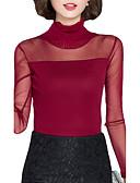 baratos Blusas Femininas-Mulheres Camiseta Sólido / Retalhos Gola Alta / Outono