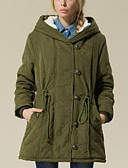 cheap Women's Downs & Parkas-Women's Long Padded - Solid Colored Hooded