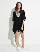 preiswerte T-Shirt-Damen Solide Übergrössen T-shirt, V-Ausschnitt Spitze / Sommer