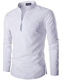 cheap Men's Shirts-Men's Chinoiserie Cotton Slim Shirt - Solid Colored Basic Stand / Long Sleeve