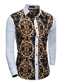cheap Men's Jackets & Coats-Men's Vintage Cotton Slim Shirt - Geometric Patchwork Classic Collar / Long Sleeve / Spring / Fall