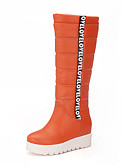 abordables Ropa de Cama de Mujer-Mujer Zapatos PU Invierno Confort / Botas de nieve Botas Tacón Bajo Dedo redondo Blanco / Negro / Naranja