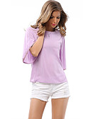 cheap Women's Blouses-Women's Daily Blouse - Solid Colored Purple L / Spring / Fall