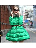 זול מעילי פוך ומעילי פרקה לנשים-ארוך מעיל פוך מעיל נשים,אחיד פשוטה יום יומי\קז'ואל כותנה פוליפרופילן-שרוול ארוך עם קפוצ'ון כחול / שחור / ירוק