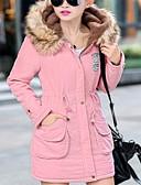 olcso Női hosszú kabátok és parkák-Női Hosszú Kosaras Egyszínű Kapucni