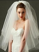 cheap Corsets-Two-tier Cut Edge Wedding Veil Blusher Veils Elbow Veils Fingertip Veils 53 Tulle