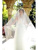 tanie Welony ślubne-Jednowarstwowy Cięte brzegi Welony ślubne Welony typu blusher / Welony katedralny z Tiul / Klasyczny