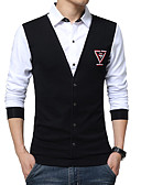 baratos Camisetas & Regatas Masculinas-Homens Camisa Social Estampa Colorida Retalhos Algodão Colarinho Clássico