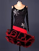 cheap Latin Dancewear-Latin Dance Dresses Performance Spandex / Lace / Organza Ruffles / Crystals / Rhinestones Long Sleeve High Dress