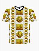 זול חולצות לגברים-צווארון עגול פעיל / בוהו חוף טישרט - בגדי ריקוד גברים דפוס / שרוולים קצרים
