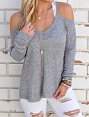billige damesweaters-Dame Gade I-byen-tøj Ferie Langærmet Pullover - Ensfarvet Patchwork Med stropper