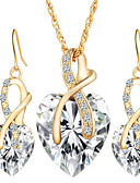 cheap Women's Dresses-Women's Crystal / Synthetic Diamond Jewelry Set - Crystal Heart, Love European, Elegant, Bridal Include Drop Earrings / Pendant Necklace Red / Green / Blue For Wedding / Party / Gift