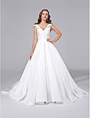 preiswerte Hochzeitskleider-A-Linie V-Ausschnitt Hof Schleppe Satin Maßgeschneiderte Brautkleider mit Knopf durch LAN TING BRIDE®