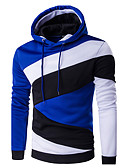 cheap Men's Shirts-Men's Sports Active Long Sleeve Hoodie - Color Block Hooded Purple L