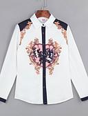 billige Skjorter til damer-Polyester Skjortekrage Store størrelser Skjorte Trykt mønster Dame