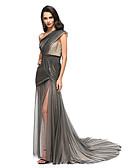 cheap Evening Dresses-Sheath / Column One Shoulder Court Train Tulle Celebrity Style Cocktail Party / Formal Evening Dress with Side Draping / Split Front / Criss Cross by TS Couture®