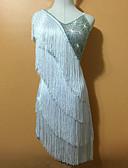 お買い得  ラテンダンスウェア-ラテンダンス ドレス 女性用 性能 スパンデックス タッセル ノースリーブ ナチュラルウエスト ドレス